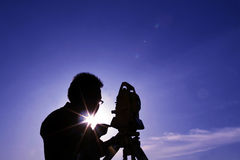 Astronomy. An astrologer scanning the sky royalty free stock photography