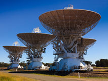 Astronomy 4 antenna. 4 big radio antennas to broadcast waves for radio telescope in astronomy stock images