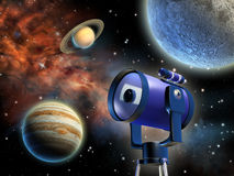 Astronomy. Studying distant planets through a telescope. Digital illustration Royalty Free Stock Photo