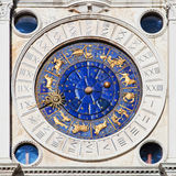 Astronomy clock. Seen on a facade at the St. Mark's Square in Venice stock photo