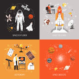 Astronomy 2x2 Design Concept. With cosmonaut spacesuit space explorer elements and space objects images flat vector illustration royalty free illustration