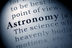 Astronomy. Fake Dictionary, Dictionary definition of the word Astronomy. including key descriptive words stock image