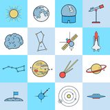 Astronomy flat vector icons Royalty Free Stock Photography