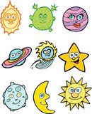 Astronomy Icons. Collection of nine cartoon astronomy icons Royalty Free Stock Images