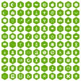 100 astronomy icons hexagon green. 100 astronomy icons set in green hexagon isolated vector illustration Royalty Free Stock Photography