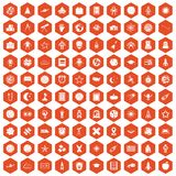 100 astronomy icons hexagon orange. 100 astronomy icons set in orange hexagon isolated vector illustration Royalty Free Stock Image