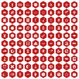 100 astronomy icons hexagon red. 100 astronomy icons set in red hexagon isolated vector illustration Stock Photo