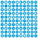 100 astronomy icons set blue. 100 astronomy icons set in blue hexagon isolated vector illustration Stock Illustration