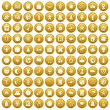 100 astronomy icons set gold. 100 astronomy icons set in gold circle isolated on white vectr illustration Vector Illustration