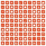 100 astronomy icons set grunge orange. 100 astronomy icons set in grunge style orange color isolated on white background vector illustration Vector Illustration