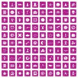 100 astronomy icons set grunge pink. 100 astronomy icons set in grunge style pink color isolated on white background vector illustration Vector Illustration