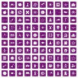 100 astronomy icons set grunge purple Stock Images