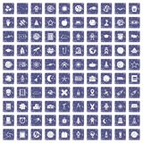 100 astronomy icons set grunge sapphire. 100 astronomy icons set in grunge style sapphire color isolated on white background vector illustration Royalty Free Illustration