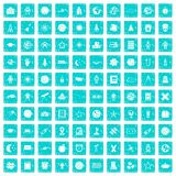 100 astronomy icons set grunge blue. 100 astronomy icons set in grunge style blue color isolated on white background vector illustration Royalty Free Stock Images