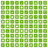 100 astronomy icons set grunge green. 100 astronomy icons set in grunge style green color isolated on white background vector illustration Royalty Free Stock Photos