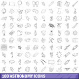 100 astronomy icons set, outline style. 100 astronomy icons set in outline style for any design vector illustration Royalty Free Stock Photos