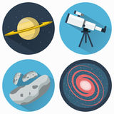 Astronomy Icons Set. Planets and Galaxies and Meteors. Telescope for viewing galaxies, star clusters, nebulae. Objects used for education manuals and science Stock Photo