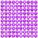 100 astronomy icons set purple. 100 astronomy icons set in purple circle isolated vector illustration Stock Photos