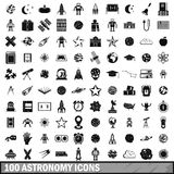 100 astronomy icons set, simple style Royalty Free Stock Photo