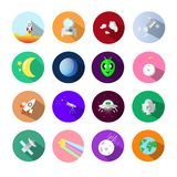 Astronomy icons symbol sets, using for application science concept flat design isolated on white background vector illustration