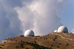 Astronomy laboratory. At the top of the mountain and beautiful sky Stock Photo