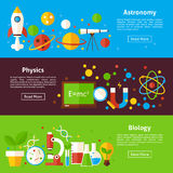 Astronomy Physics Biology Science Flat Horizontal Banners Stock Images