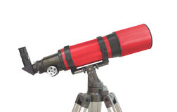 Astronomy refractor telescope isolated. Red short-tube astronomy refractor telescope isolated on white stock photo