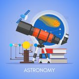 Astronomy science education concept vector poster in flat style design.  vector illustration