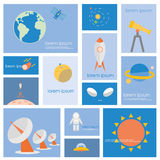 Astronomy science and space icon set. Royalty Free Stock Photo