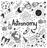 Astronomy science theory and drawing doodle handwriting icon of Stock Image