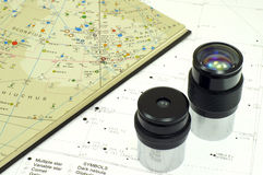 Astronomy. Sky map and telescope eyepieces Royalty Free Stock Image