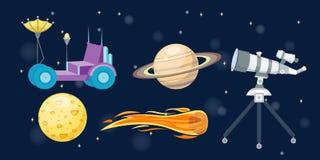 Astronomy space cartoon set vector. Stock Photos