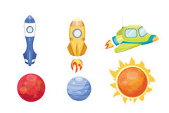Astronomy space rocket cartoon set vector. Stock Photography