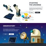 Astronomy. Vector banners set of science theme. Illustration of telescope and observatory, satellite and exploration, spacecraft illustration vector illustration