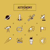 Astronomy Vector Icon Set. Astronomy Gold Vector Icon Set. A collection of space themed line icons including a planet, rocket, spaceman and solar system. Layered Royalty Free Stock Image