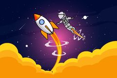 Astronout et course de fusée dans l'illustration de l'espace illustration stock