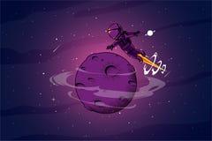 Astronout intorno all'illustrazione dello spazio royalty illustrazione gratis