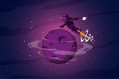 Astronout rond de ruimteillustratie royalty-vrije illustratie