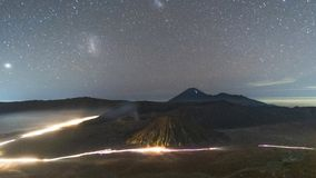 Astrophoto Star trails at Volcano Mt.Bromo East Java,Indonesia.  stock image