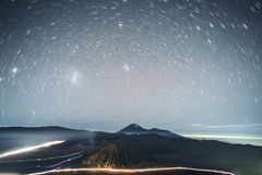 Astrophoto Star trails at Volcano Mt.Bromo East Java,Indonesia royalty free stock image