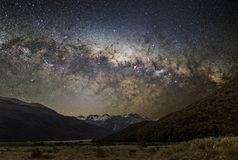 Astrophotography of Milky Way. In New Zealand, Arthur`s pass, the beauty of the cosmos royalty free stock photo