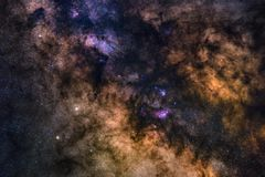Astrophotography of Milky Way galaxy. Deep space. Stars, nebula and stardust at night sky stock photo