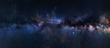 Astrophotography of Milky Way galaxy. Panoramic astrophotography of visible Milky Way galaxy. Stars, nebula and stardust at night sky stock image