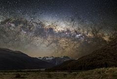 Astrophotography of Milky Way in New Zealand, Arthur`s pass. It is the central part of the Milky Way royalty free stock photos