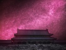 Astrophotography, night starry sky. Forbidden City is the largest palace complex in the world. Located in the heart of Beijing. Astrophotography, night starry royalty free stock images