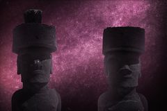 Astrophotography, starry sky shines at night. A statue on Easter Island or Rapa Nui in the southeastern Pacific, the territory of Chile Royalty Free Stock Photos