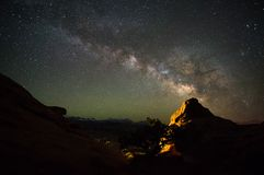 Astrophotography Utah Slickrock Campground. Astrophotography Utah Slickrock Camping Campground Rockies Mountains Stars Desert Milky Way Nature Moab royalty free stock image