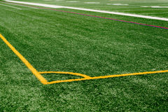Astroturf football field. Outdoor astroturf football field with painted yard lines Stock Photography