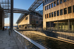 Astrup Fearnley Museum in Oslo during sundown Royalty Free Stock Photo