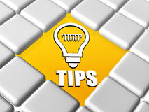 Astuces et symbole d'ampoule dans des boîtes Image libre de droits